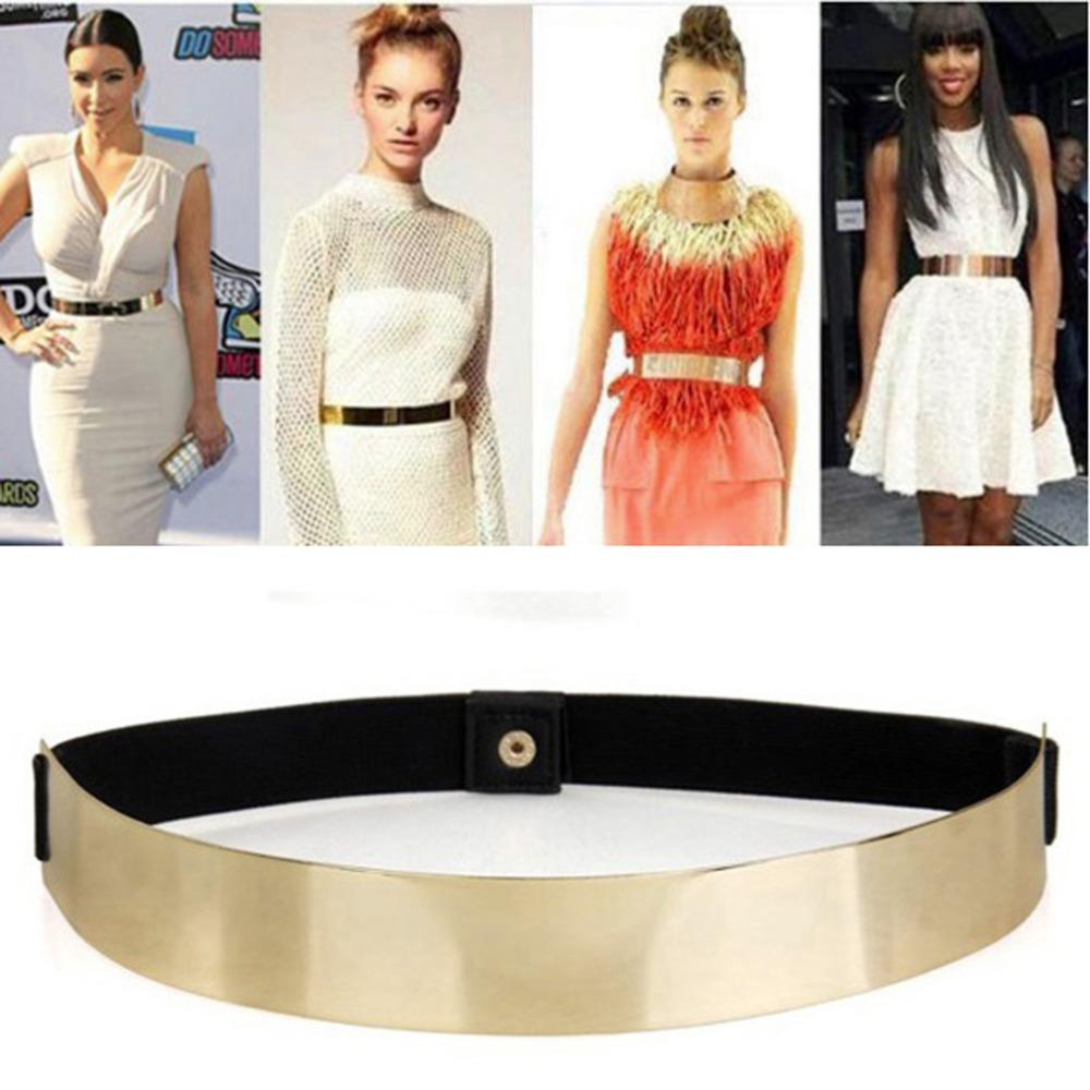 1pcs Slim Elastic Metallic Bling Simple Fashion Band Gold Plate Metal Waist Belt DropShipping Wholesale(China (Mainland))
