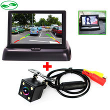 Auto Parking Assistance New LED Night Vision Car CCD Rear View Camera With 4.3 inch Color LCD Car Video Foldable Monitor Camera(China (Mainland))