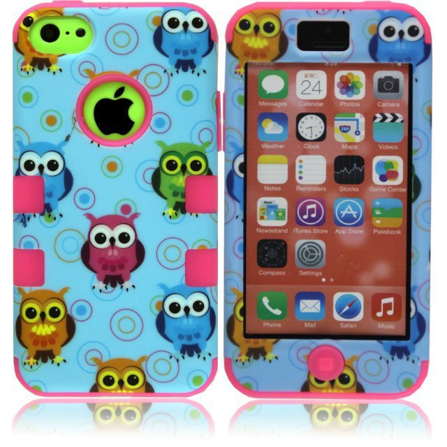 Apple iPhone 5C Owl Series 3 1 Hybrid Rubber Silicone Hard Impact Shockproof Case Cover +5C Screen Protector - Shenzhen GenaTX Technology Co., LTD store