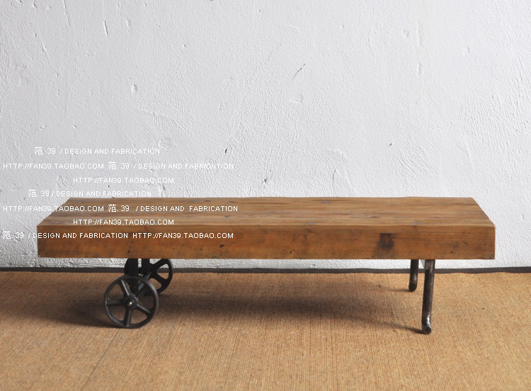 Здесь можно купить  LOFT American country to do the old industrial style retro old wooden cast iron wheel scooters engraved coffee table  Мебель