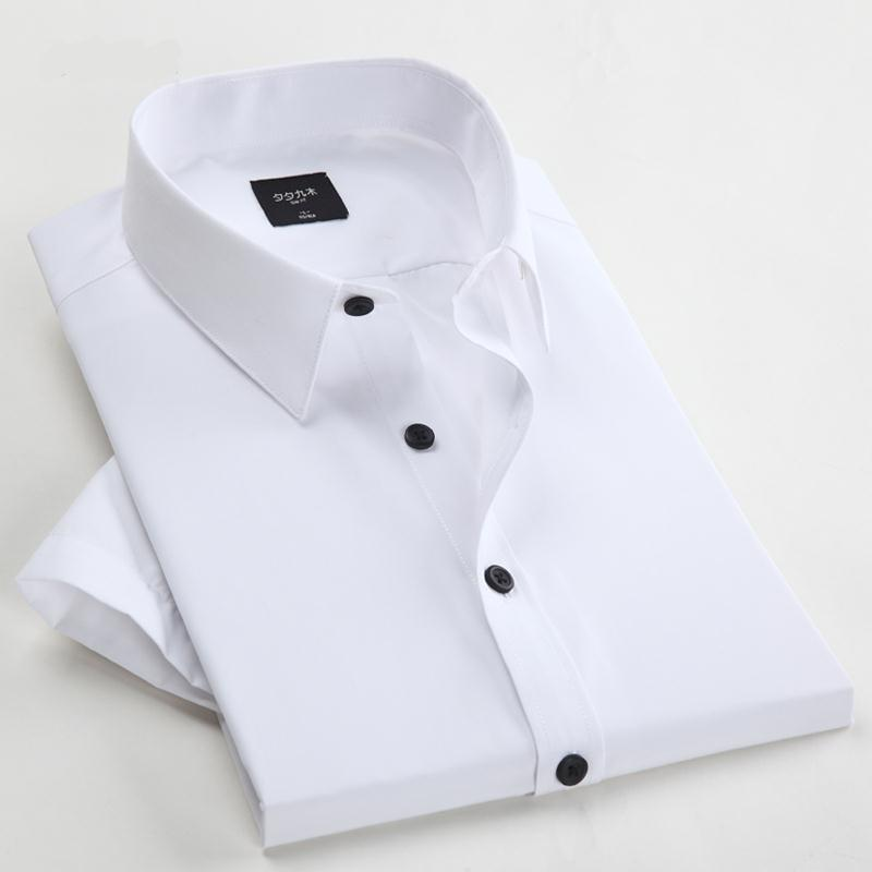 Men Fashion Polyester Short Sleeve Solid Shirts 2015 Summer Style Male Leisure Business Men's Shirt Vestidos 7 Color Plus Size(China (Mainland))