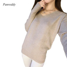 2016 New Fashion Women's Pullover Sweater Lady V-neck Batwing Sleeve Cashmere Wool Knitted Solid Color Wear Loose Size 4XL(China (Mainland))