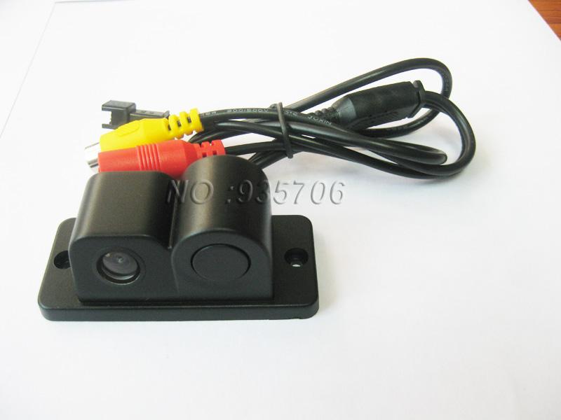 2in1 automobiles car electronics parking sensors black sensors reversing radar car rear view camera reversing camera waterproof(China (Mainland))