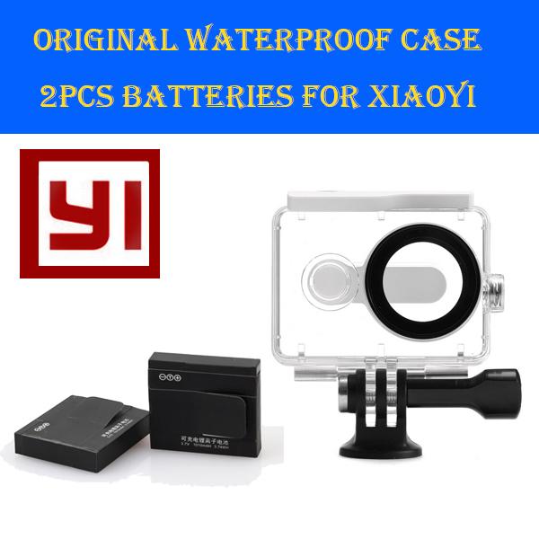 Original Diving Underwater 40m xiao mi yi Waterproof Case Housing shell + 2pcs battery for Xiaomi yi Cam xiaoyi action camera(China (Mainland))
