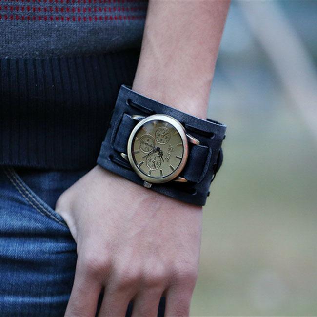 Мужчины мода PU кожа широкий ремешок кварцевые древних стили часы горячая распродажа панк браслет браслет аналоговые часы MU677287