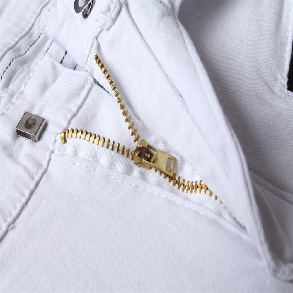 Скидки на Мужские джинсы мода повседневная джинсы шить брюки белый отверстие прямые джинсы для мужчин размер 28 29 30 31 32 33 34 36 38