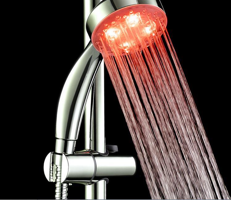 RGB LED Shower Head Handheld Sprinkler Temperature Sensor 3 Color(China (Mainland))