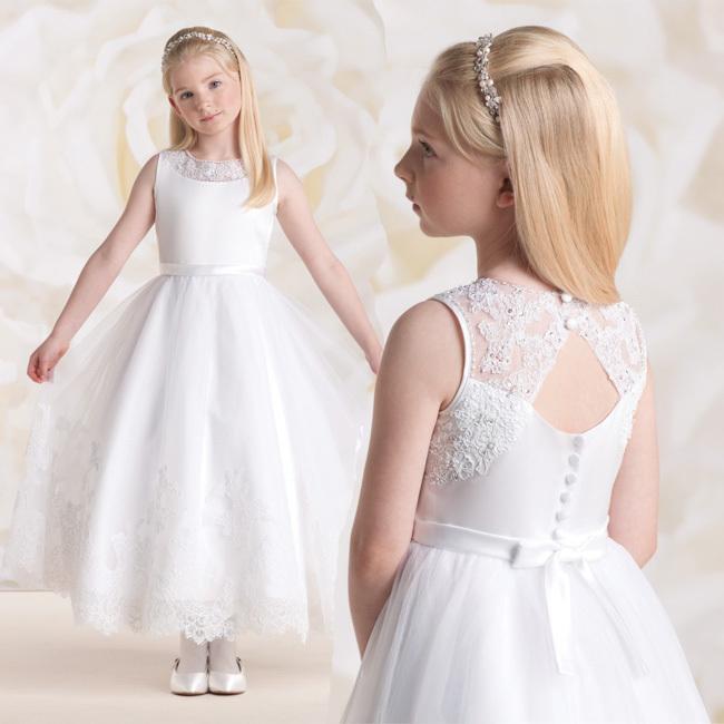 2015 Lovely First Communion Dresses Ball Gown White Lace Appliques Ribbon Girls Tulle Vestidos De Comunion infant - FAERIE store