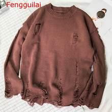 Fenguilai 남자 스웨터 2020 가을 겨울 풀오버 남자 패션 중공 구멍 느슨한 니트 남성 스웨터 sueter hombre(China)