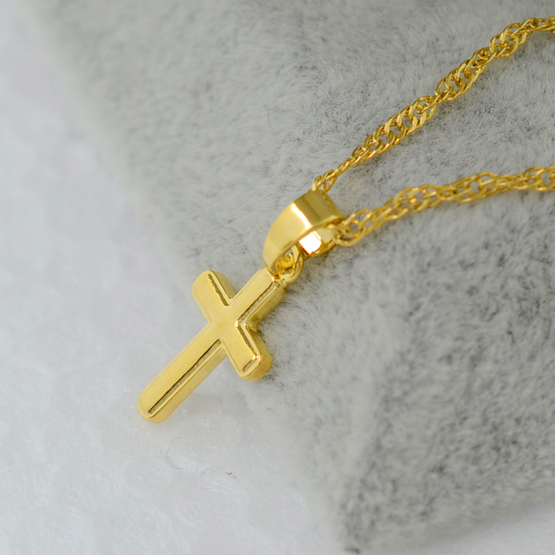 Small gold cross pendant necklace women girl kids,mini charm pendant 18k gold plated filled jewelry crucifix Christian Ornaments(China (Mainland))