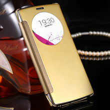 Luxury Clear View Mirror Screen Flip Leather Smart Case For LG Optimus G4 H815 H811 H810 VS986 LS991 F500 Mobile Phone Cover Bag(China (Mainland))