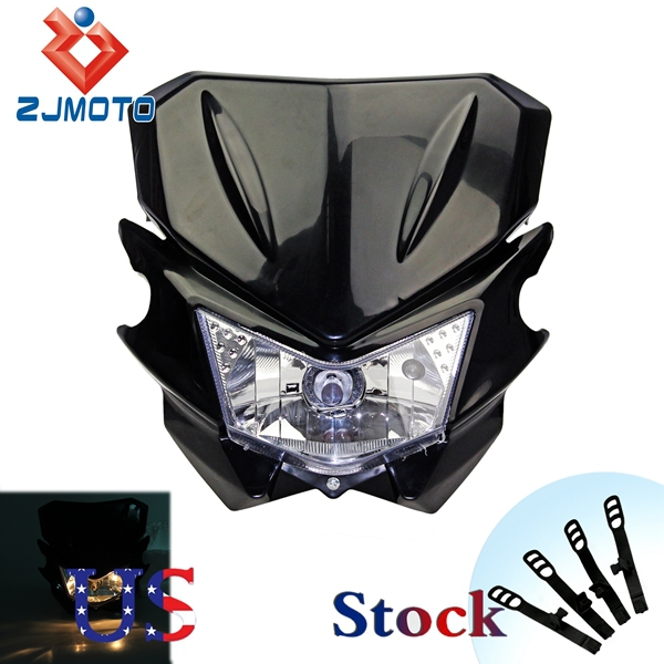 ZJMOTO 2015 Hot Selling US Stock Black 12V Universal Motorcycle H4 Head Light Dual Sport for YAMAHA Street Fighter Free Shipping(China (Mainland))