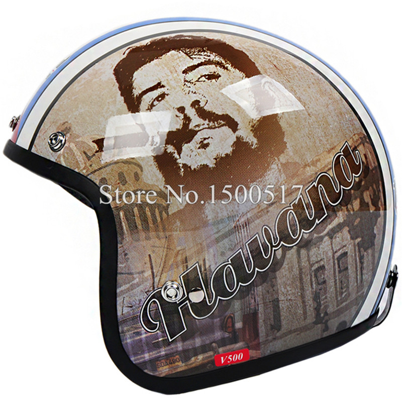 Che Guevara Retro 3/4 Open Face Vintage Motorcycle Helmet Cruiser Moto Cross Casque Casco motocicleta Capacete Half Helmets(China (Mainland))