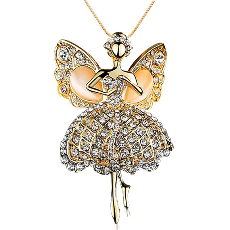 Fashion Long Necklace Classic Opal Crystal Gem 18K Gold plated Angel Dream Ballet Girl Dancers Figure Pendant Necklaces Woman(China (Mainland))