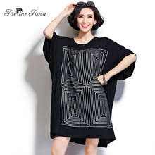 BelineRosa Plus Size Women Tops and Shirts Casual Geometric Maze Short Sleeve Loose Cotton Shirts for Women Fit 2XL~5XL DS0014(China (Mainland))