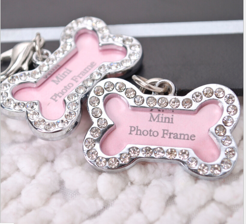 S Size Stainless Steel Pet Cat Dog ID Tags Customized Personalized Bone Shaped Dog Tag Pink 200pcs Free shipping(China (Mainland))