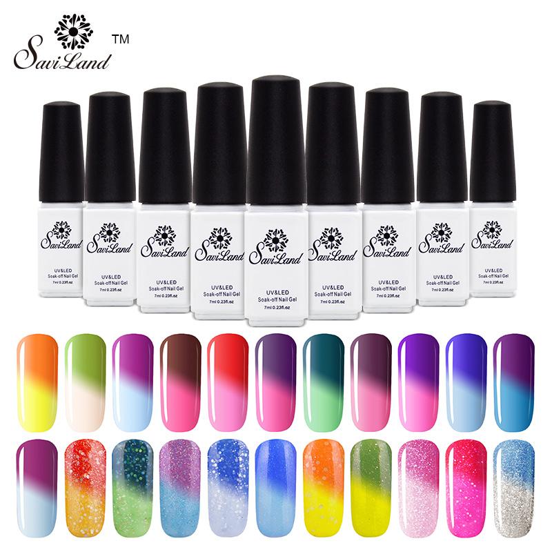 Saviland 1pcs 3D professional temperature change color uv gel nail polish chameleon changing color soak off nail art(China (Mainland))