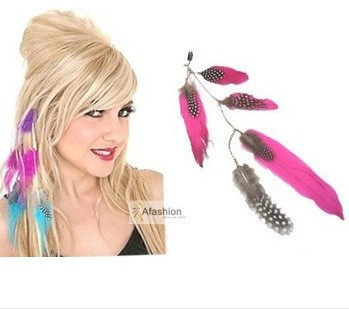 1pc Beauty Feather Clip in hair extensions mix 3 color quick wear pieces synthetic hair extension straight Free Shipping(China (Mainland))