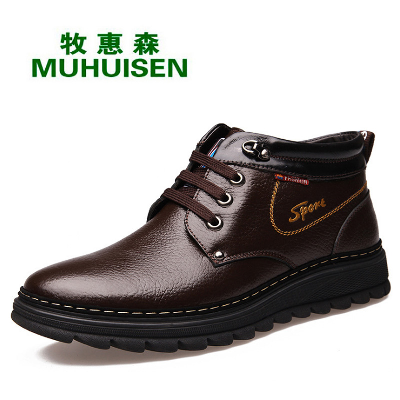 top quality genuine leather boots waterproof size 38 44
