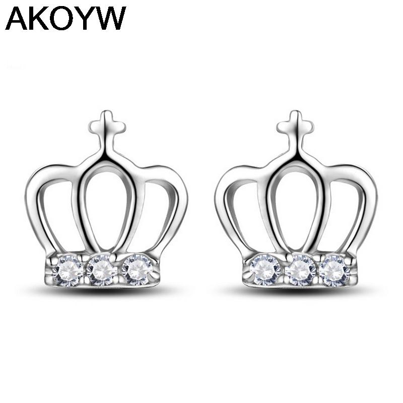 Silver plated crown female models wild crystal earrings jewelry cute retro fashion jewelry factory wholesale super flash(China (Mainland))