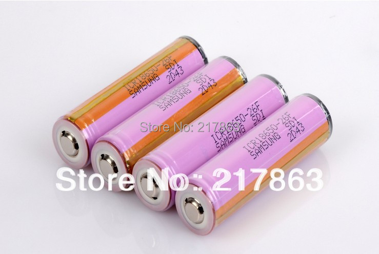 2PCS Protected 100 New Original Samsung 3 7V 18650 ICR18650 26F 2600mAh Li ion Battery With