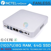 Best quality dual core 1037u aluminum fanless dual lan mini pc