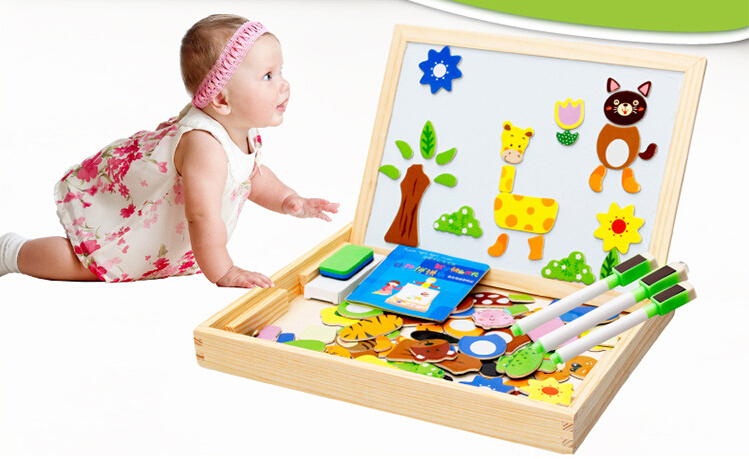NEW Wooden 3d Puzzles Magnetic Animal Puzzle Wooden Puzzle Drawing Board Storage Jigsaw Wooden Puzzles For Educational Toys(China (Mainland))