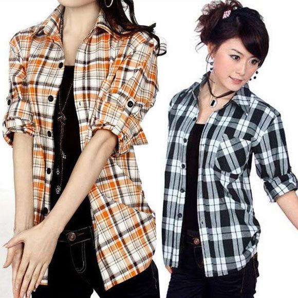 Free shipping 2016 New fashion Blouses for women plaid shirts ladies 100% Cotton checked shirt long sleeve shirts SWS077