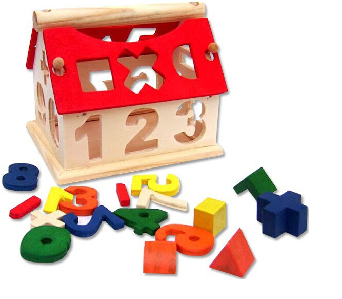 Hot Kids Funny Number Puzzle Toys Wooden Numbers House Building Blocks Toys Model Building Kits(China (Mainland))