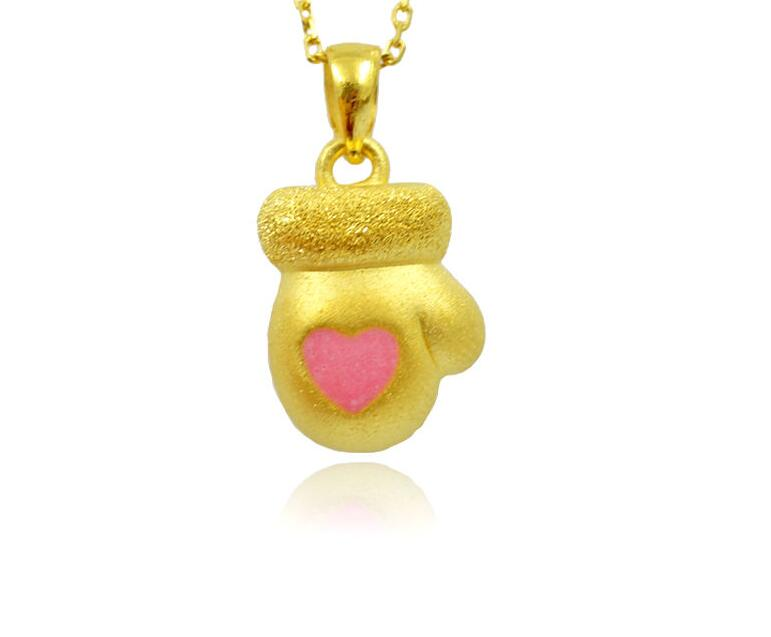 Pure 24k Yellow Gold  3D Christmas Gift Bless Glove BABY Pendant<br><br>Aliexpress