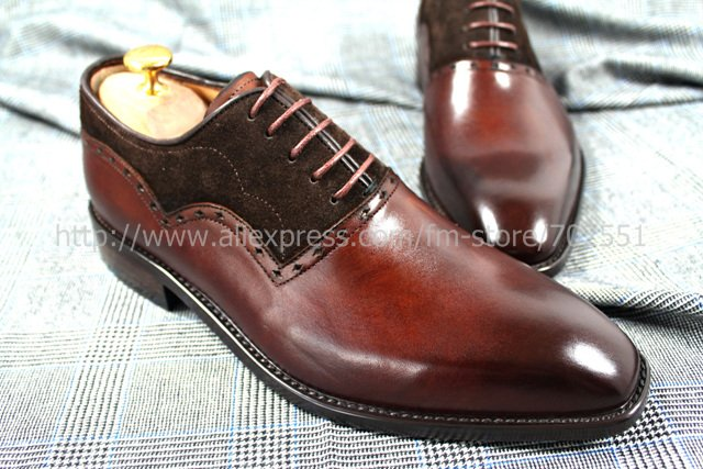 EMS Free shipping to avoid the customs duty adhesive craft genuine calf leather men's oxford shoe color dark henna No.OX207(China (Mainland))