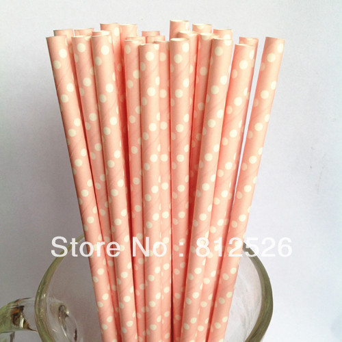 baby pink swiss straw with white dot drinking paper straws Wholesale Free shipping Holiday articles 500pcs Party Supplies