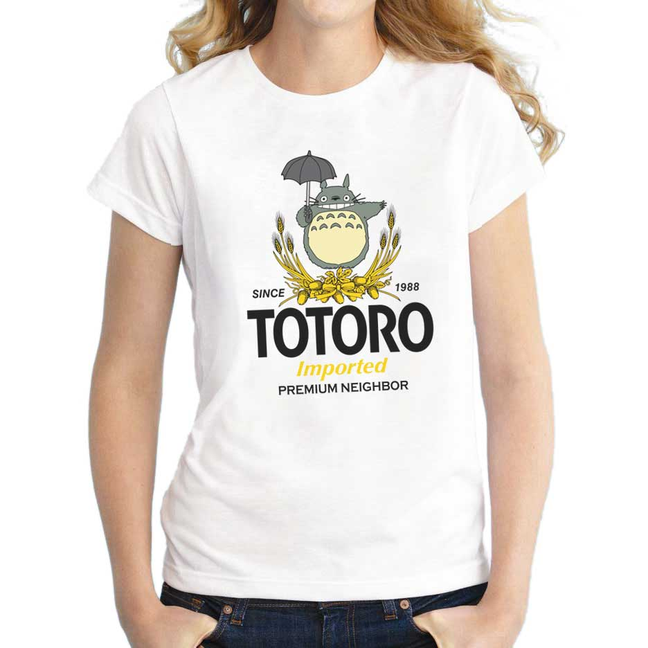 Womens Funny Totoro Pyramid T-shirts 2017 Summer Fashion Female Casual Tops Women's Imported Neighbor Printed Short Sleeve(China (Mainland))