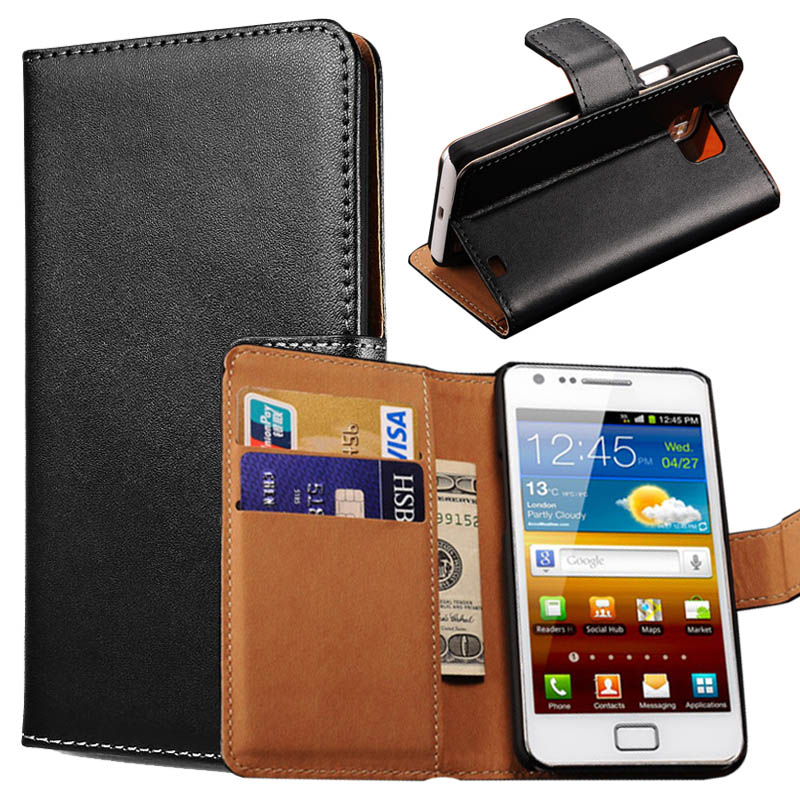Vintage Wallet Stand Genuine Leather Case For Samsung Galaxy S2 i9100 SII S II Phone Bag Cover with Card Holder Flip Coque(China (Mainland))