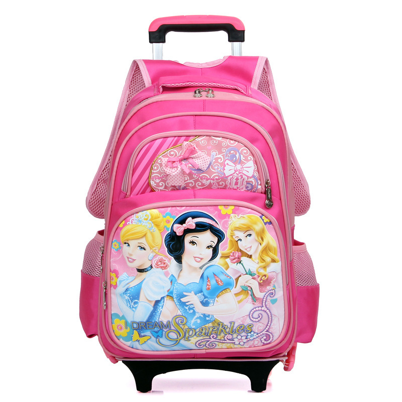 2015 Fashion Polyester Removable Cartoon Children Trolley School Bag Wheels Kid Outdoor Recreation Backpack Bags 44*32*21cm