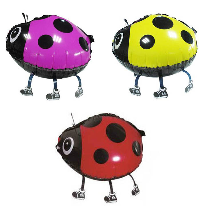 10PC/lot multiple colour ladybug walking balloons animals inflatable air ballon for party supplies kids classic toy 56*43cm(China (Mainland))