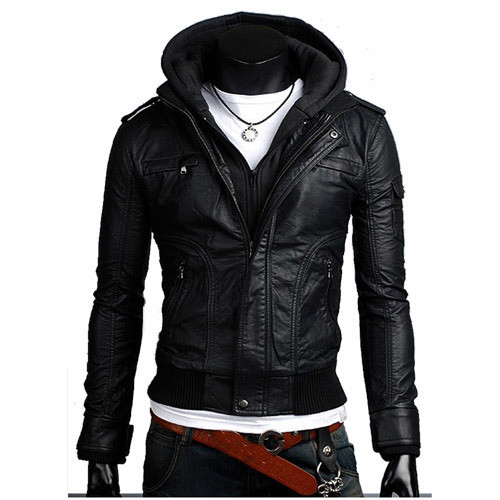 2014 Men Slim Coat Detachable Hooded Skinny Black Faux Leather Jacket,Motorcycle Hoodie Zipper Outwear c110 - Boutique cottages store
