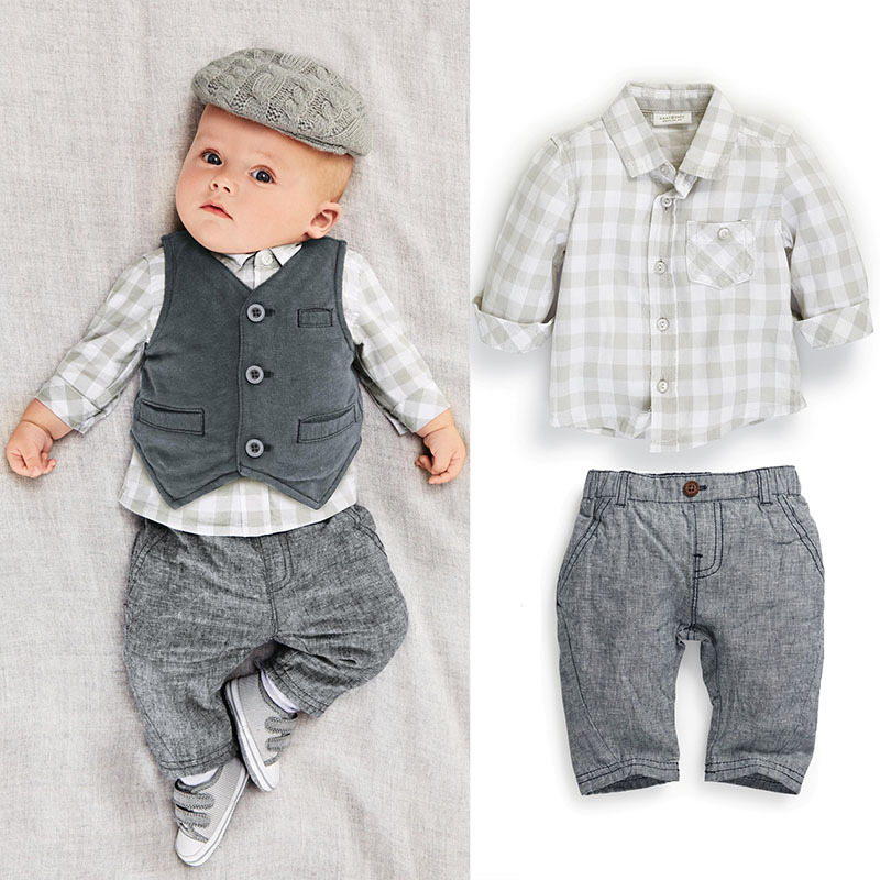 C147 0 3Y new style Fashion baby boy clothes gentleman 3pcs party and wedding Long Sleeve
