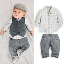 C147 0-3Y new style Fashion baby boy clothes gentleman 3pcs party and wedding Long Sleeve Kids Boy Clothing Set free shipping