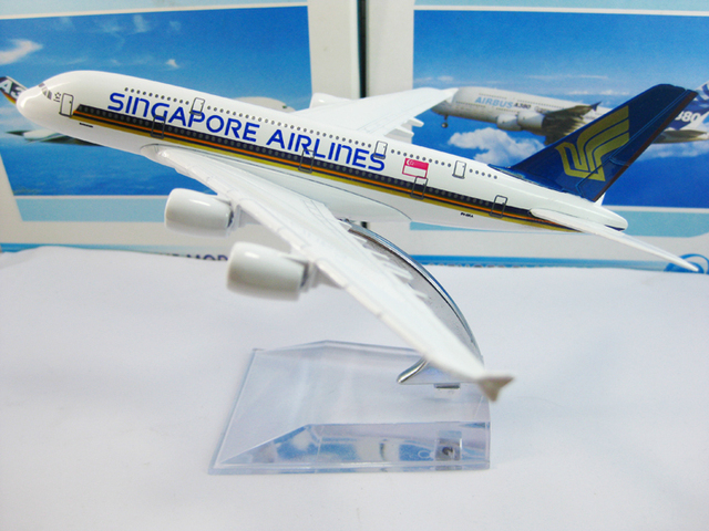 Free Shipping,Airlines plane model,   For Singapore Airlines A380, 16cm, metal airplane models,airplane model