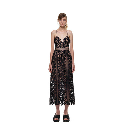 2015 In Europe and the self - portrait same socialite condole v-neck lace hook flower dress(China (Mainland))