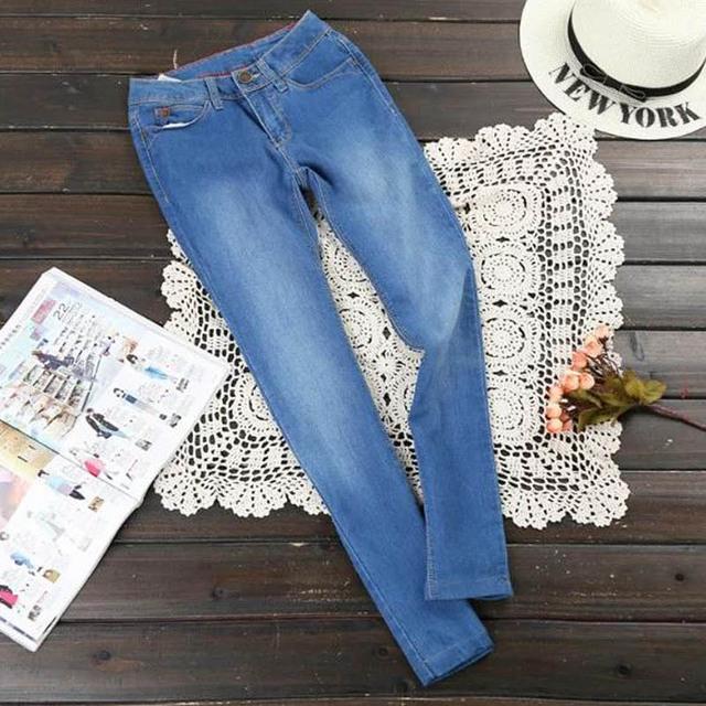 Женские джинсы 2016 Новый стиль синие джинсы черный свободного покроя карандаш брюки ...
