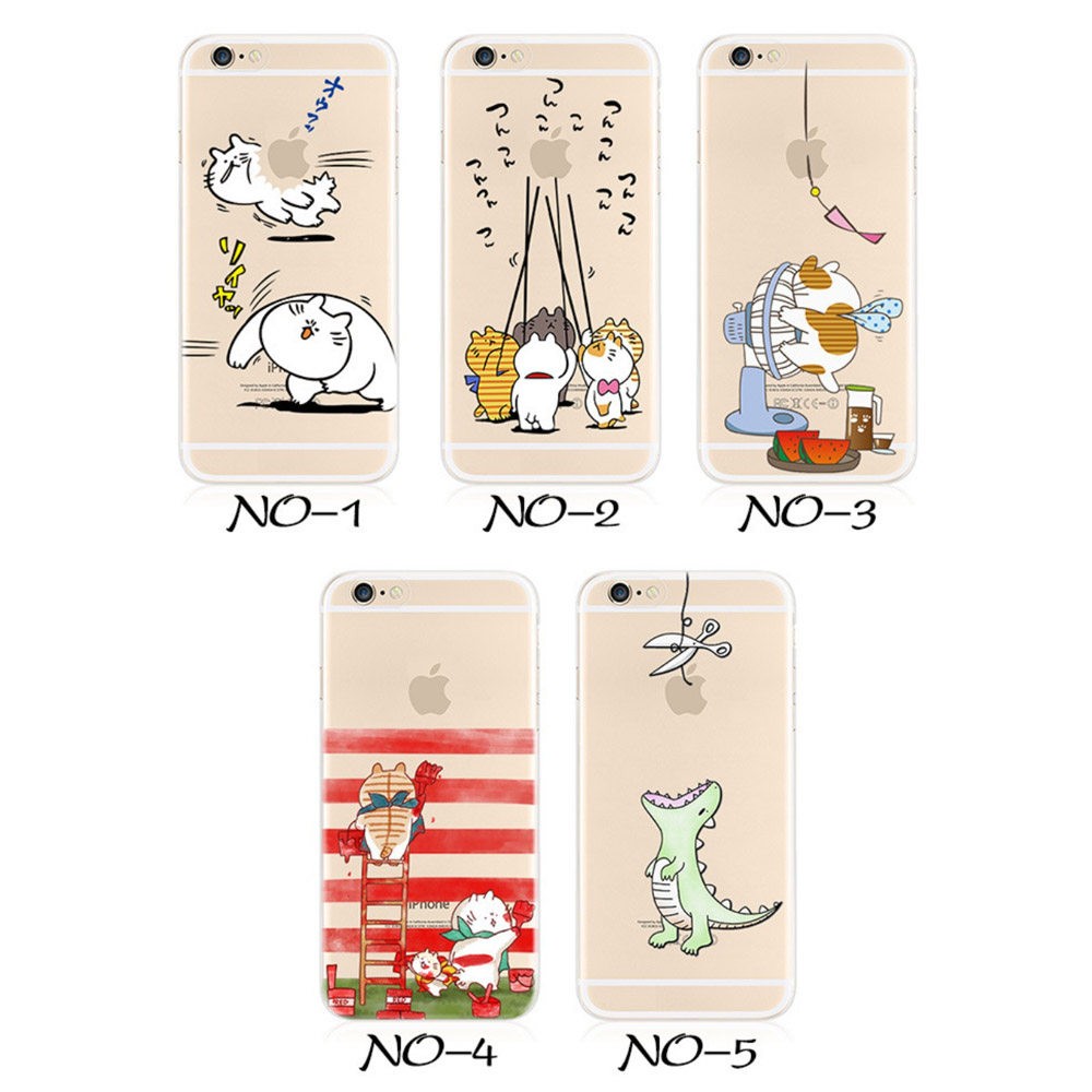 Cartoon Cat Series Ultra Thin Slim Transparent Clear Case Cover for iPhone SE/5/5s 6/6s 6 Plus/6s Plus(China (Mainland))
