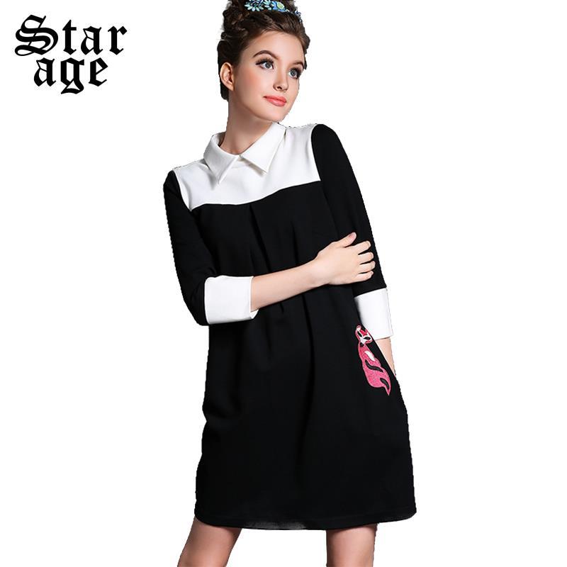 S-5XL Office Ladies Audrey Hepburn Vintage Black White Patchwork Dress 2015 Autumn Fashion Brand Plus Size Women Clothing 1561(China (Mainland))