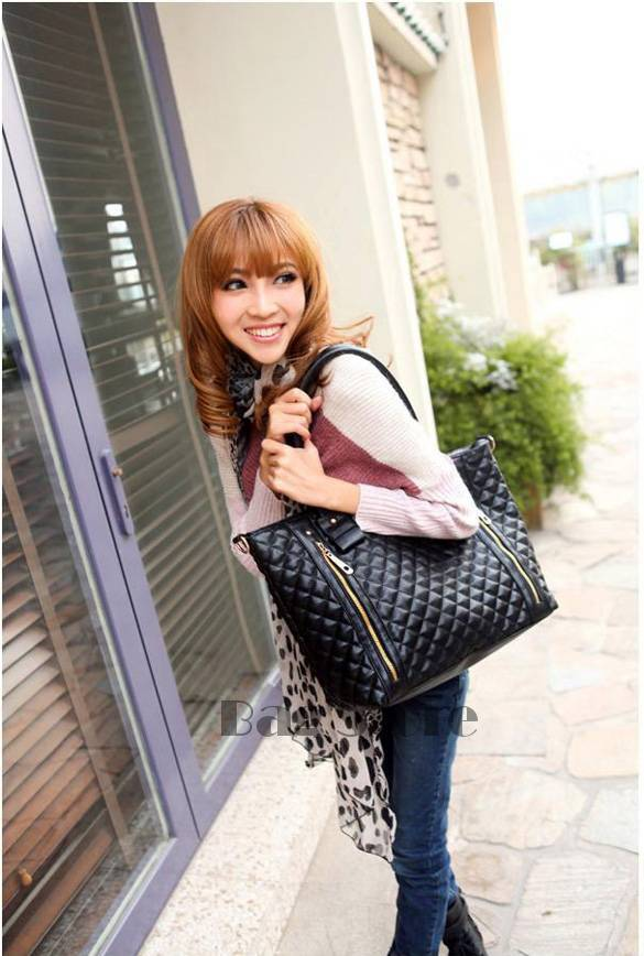 Fashion Women Office Lady PU Quilted Shoulder Tote Bag Hobo Handbag SV000153(China (Mainland))