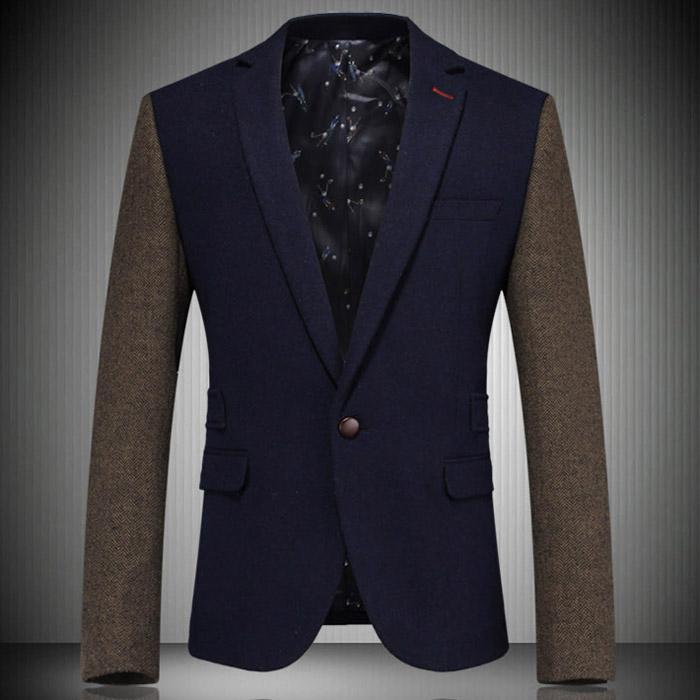 Plus Size M-3XL Men Suit Blazer 2014 New Autumn Arrival Slim Fashion Brand Casual Wool Suit Jackets F0366Одежда и ак�е��уары<br><br><br>Aliexpress