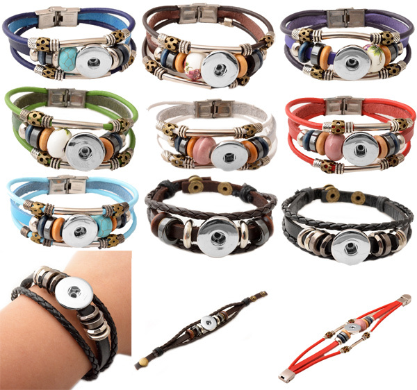 Hot Sale 2015 Womens Fashion Bangles Vintage Wholesale leather retro handmade snap button bracelet fit button discounts Bangle(China (Mainland))