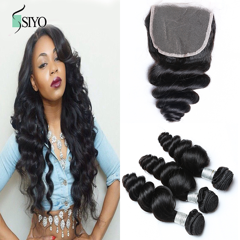 6A 4X4 Loose Wave Three Bundles with Free Part Peruvian Virgin Hair Lace Top Closure Human Hair Closure Peruvian Lace Closure