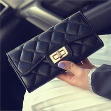 2015 Fashion plaid Long womens wallets and purses Brand designer women wallets Multi card Mobile phone bag portefeuille femme(China (Mainland))
