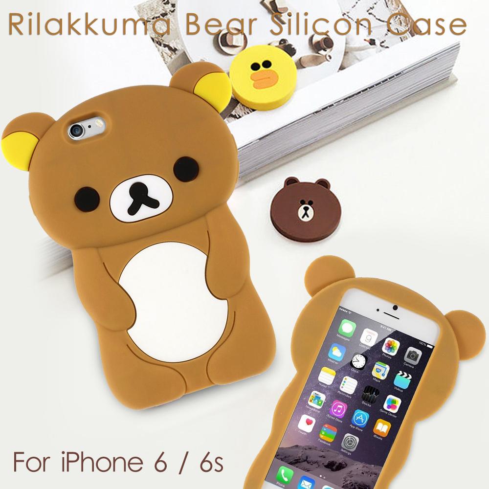 for iPhone 6S Cute Rilakkuma Bear Silica Gel Case for iPhone 6 / 6s 4.7 Inch(China (Mainland))